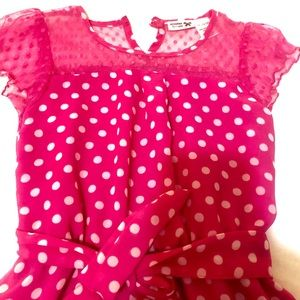 Other - Girls pink white polka dot chiffon dress